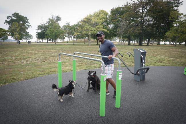 A man and two dogs at an outdoor exercise area
