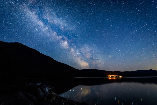 Night sky over Lake McDonald in Glacier National Park