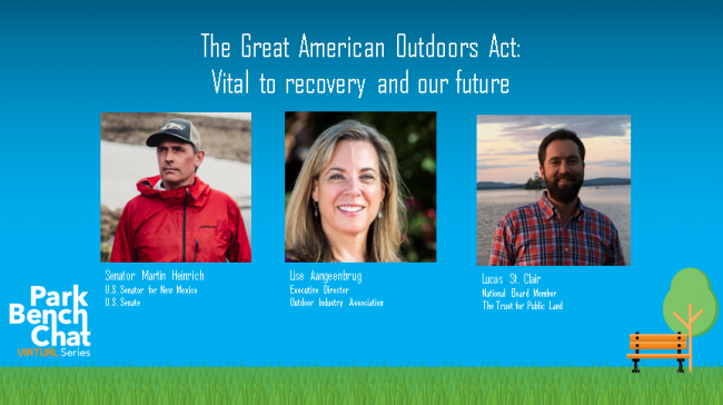 Senator Martin Heinrich of New Mexico; Lise Aangeenbrug, executive director of the Outdoor Industry Association; Lucas St. Clair, Trust for Public Land Board Member