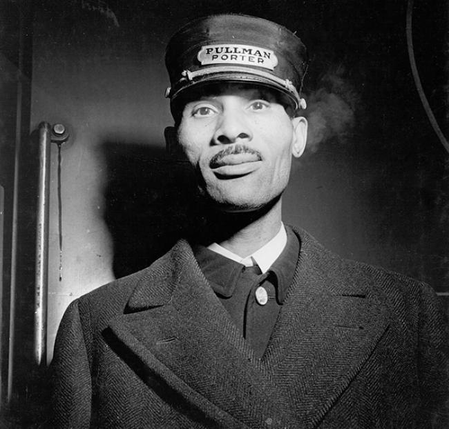 Black and white portrait of a Pullman Porter in uniform