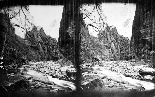 Black and white photograph of Zion Canyon