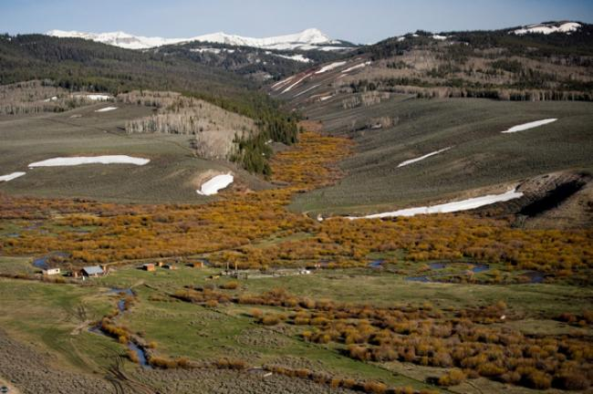 Snowy patches dot the Wyoming Range foothills   Snowy patches dot the Wyoming Range foothills