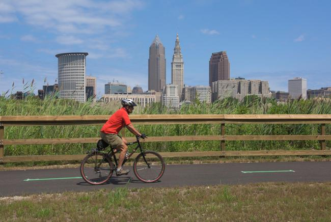 Cycling on the Cuyahoga Lake-Link, Cleveland  Cycling on the Cuyahoga Lake-Link, Cleveland