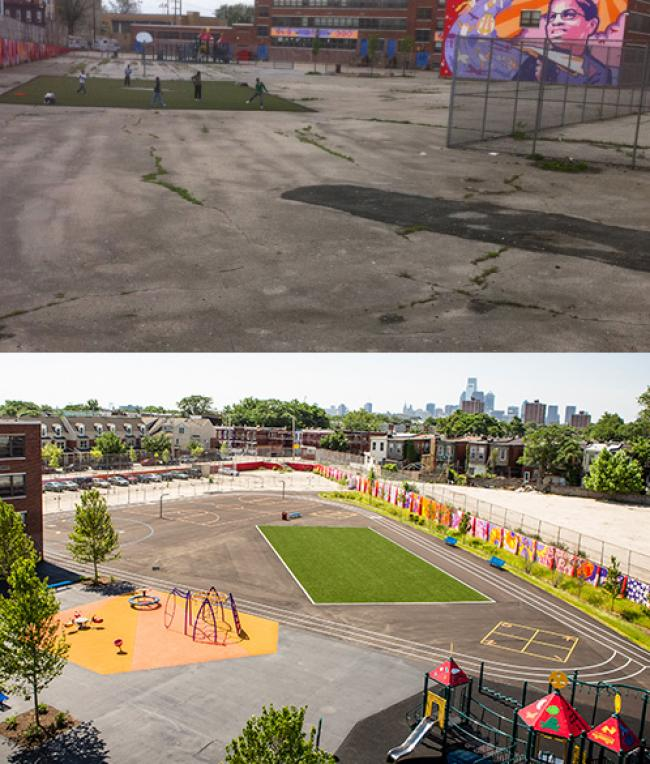 William Dick School, before and after the new playground design.
