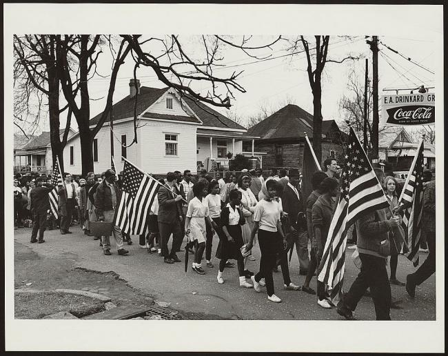 Black and white photograph of marchers on the Selma to Montgomery March