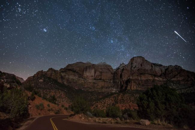 Perseid meteor shower over Zion National Park
