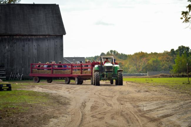 A tractor ride on a fall farm