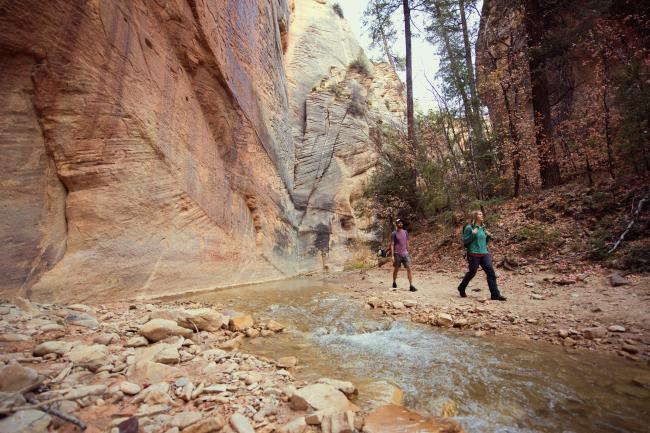 A man and a woman walk past the camera in a sandstone canyon