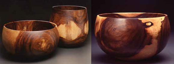 Three wood bowls