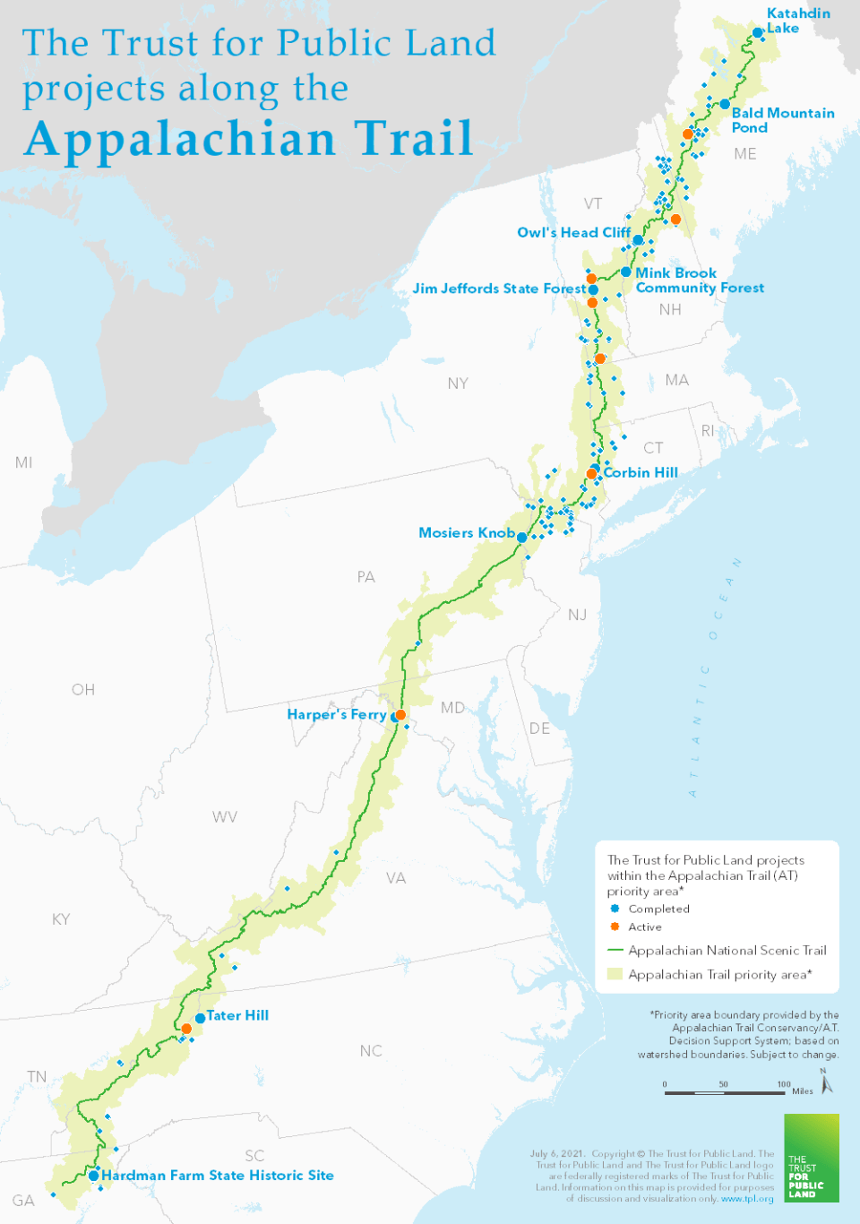 A map of places along the Appalachian Trail protected by The Trust for Public Land