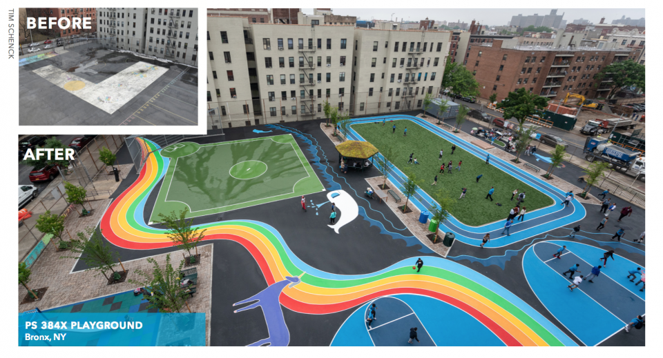 Schoolyard transformation in New York City