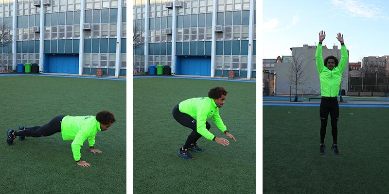A man performs a burpee