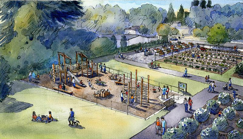 Image of a water color rendering of Charlotte's Blueberry Park Playground