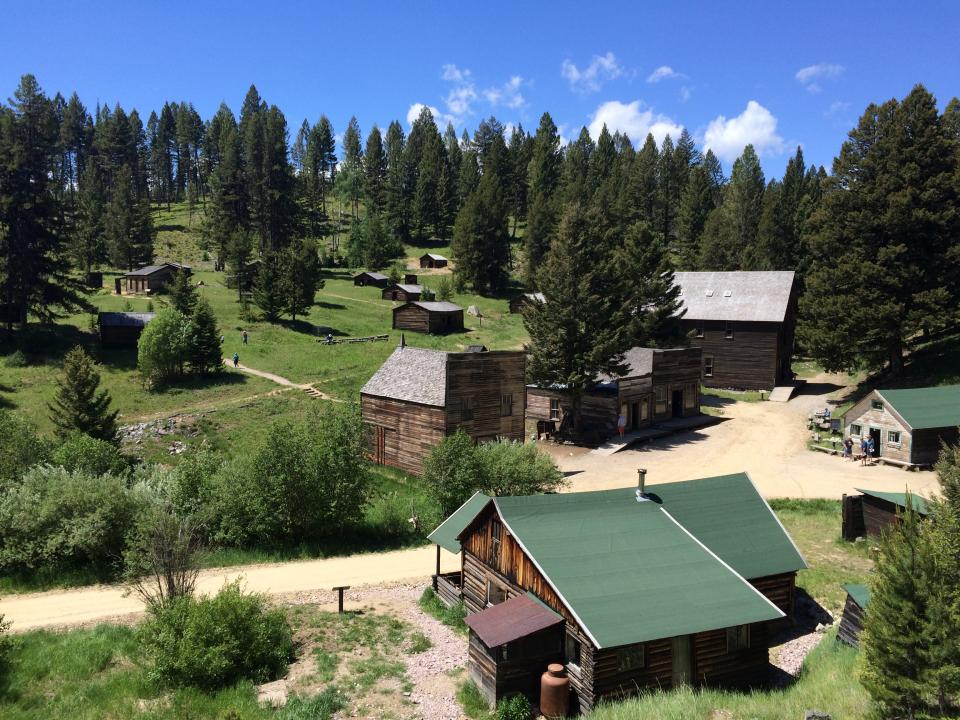 A view from uphill of Garnet ghost town