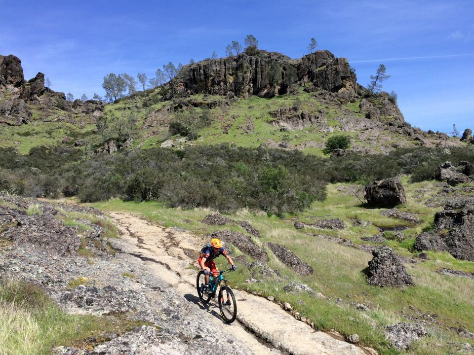A mountain biker on Oat Hill Mine trail
