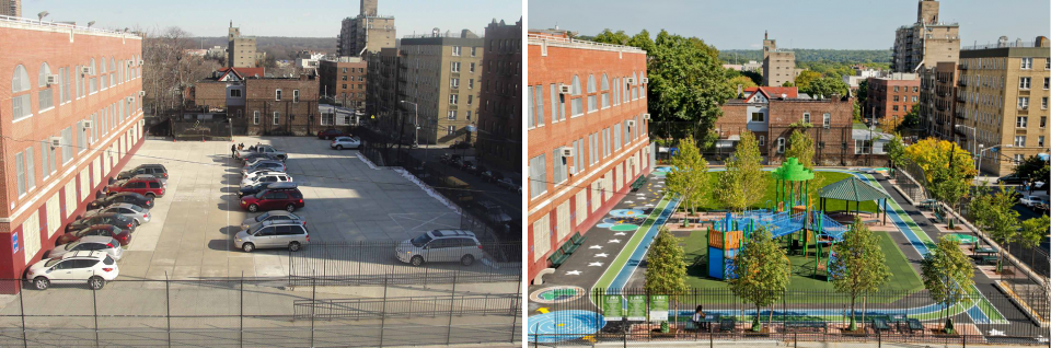 Photos of P.S. 7 in New York City, before renovation (a parking lot) and after (a green park with a track and benches)