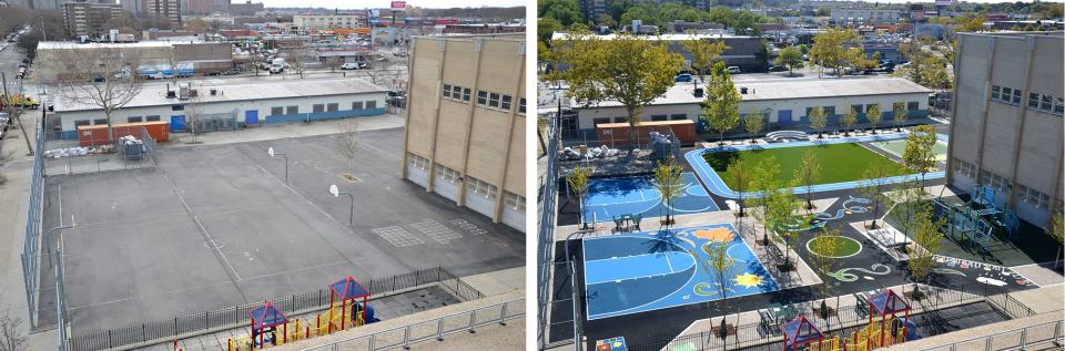A before and after photo of a green schoolyard