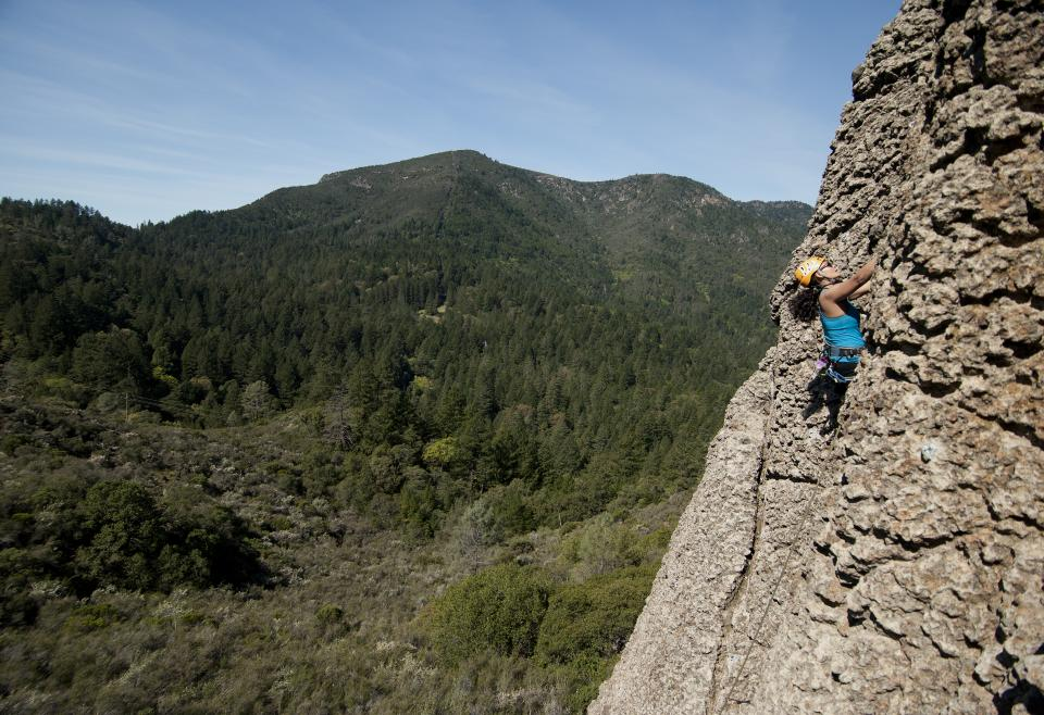 A climber at Mt. Saint Helena