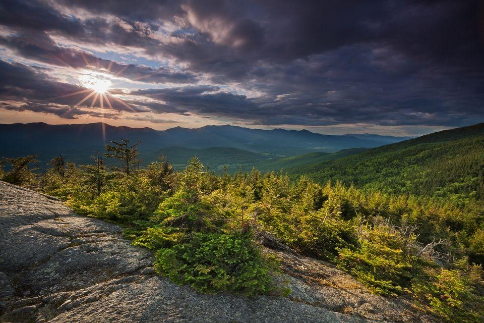 Sunshine breaks on Vermont's Hunger Mountain