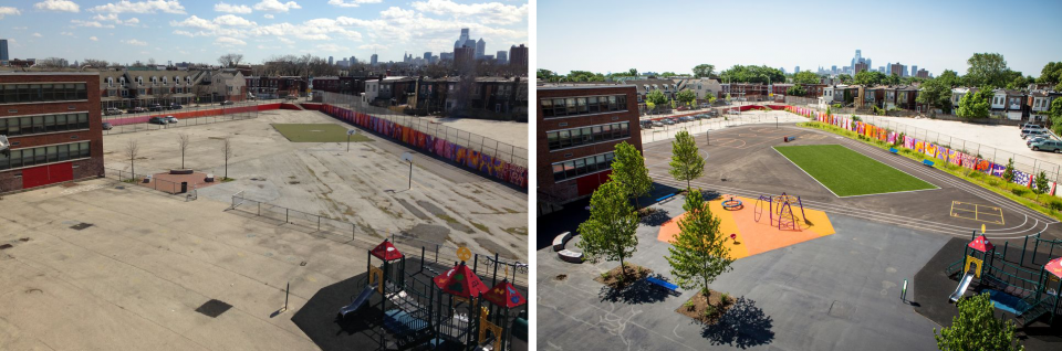 Photos of William Dick School, before renovation and after