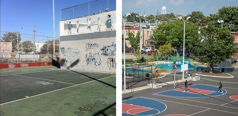Before and after photographs of Collazo Playground