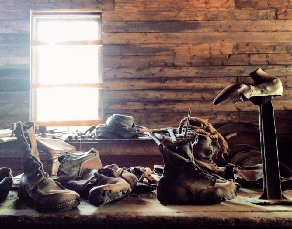 A collection of old shoes recovered from the ghost town of Garnet, Montana