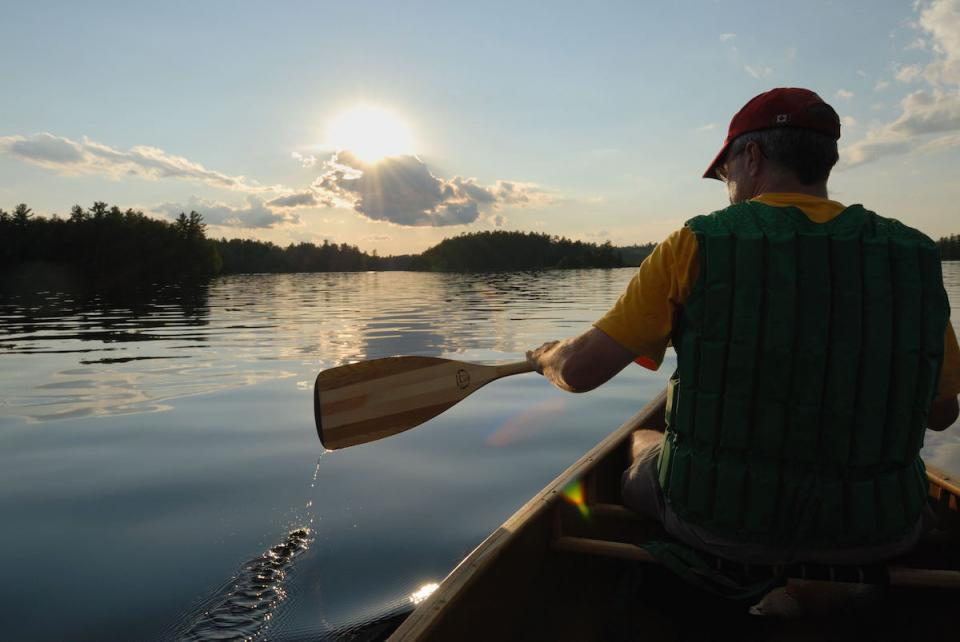 A man paddles at Superior National Forest