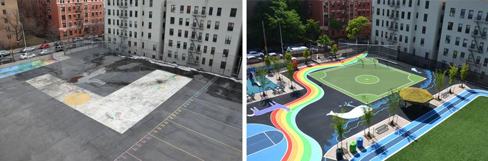 Before-and-after photos of the schoolyard at P.S. 384X in New York City show a drab empty playground transformed into one with trees, a playing field, and play equipment.