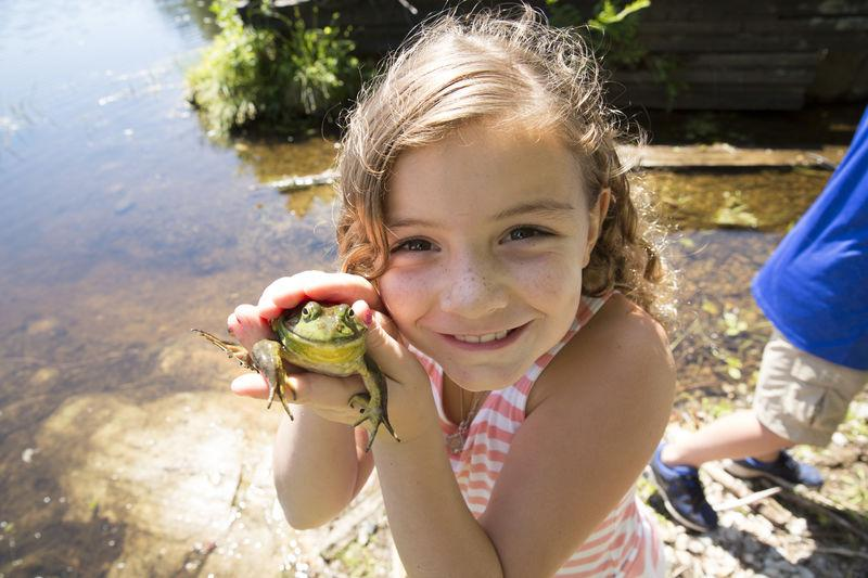 Catching frogs at Knight's Pond in Cumberland, Maine