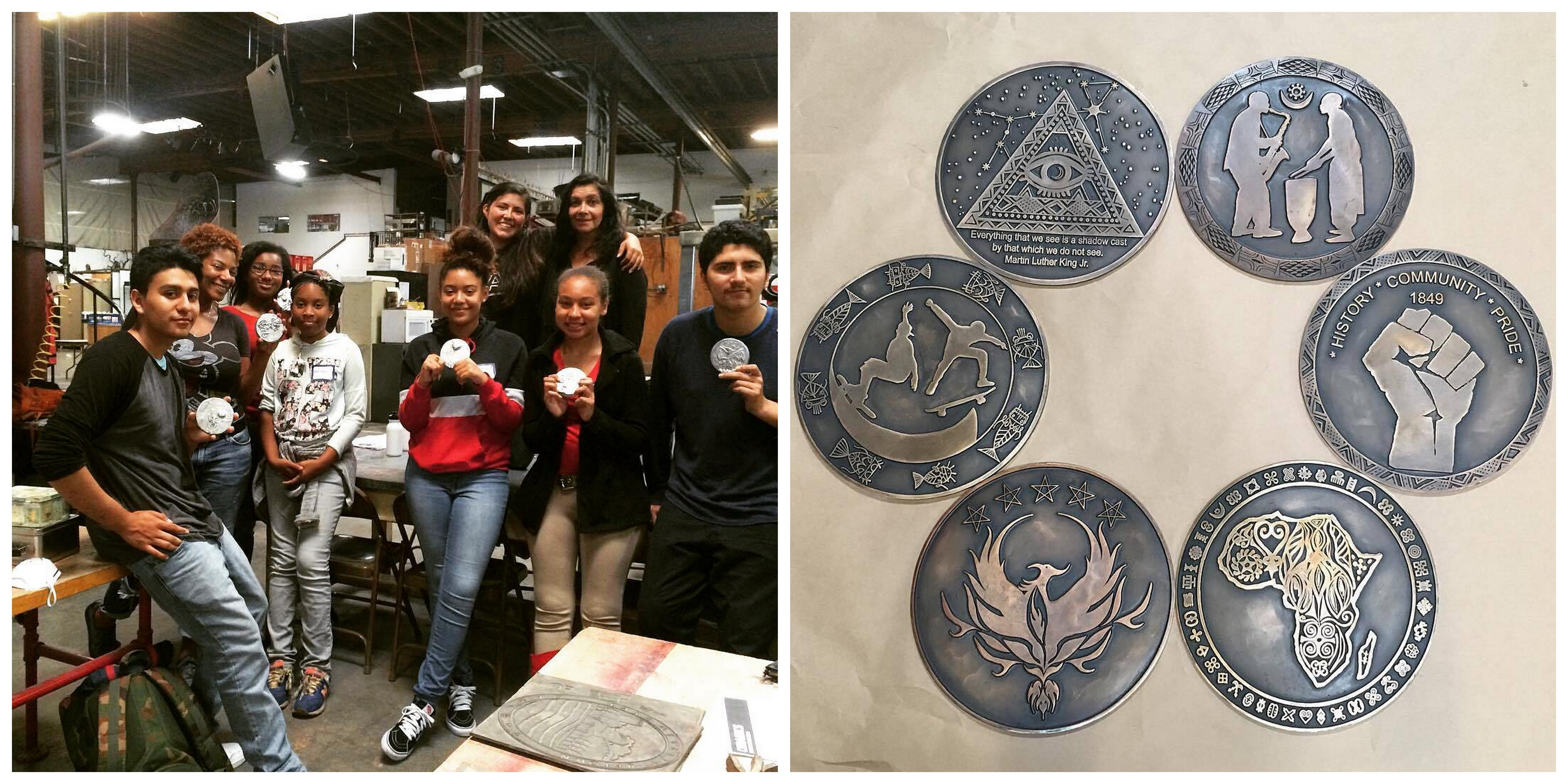 Students in the metalworking class and their finished medallions