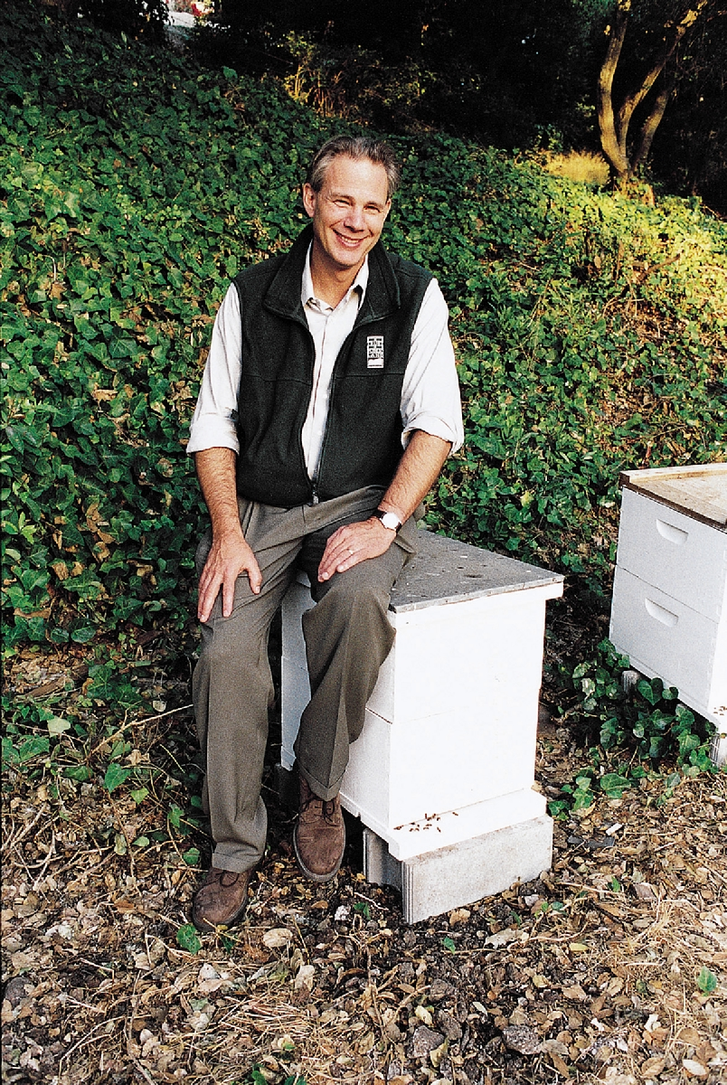 Trust for Public Land president Will Rogers, with his backyard bee hives