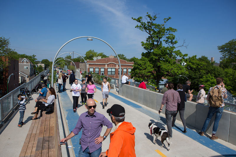 People take in the view at the grand opening of The 606 in 2015.
