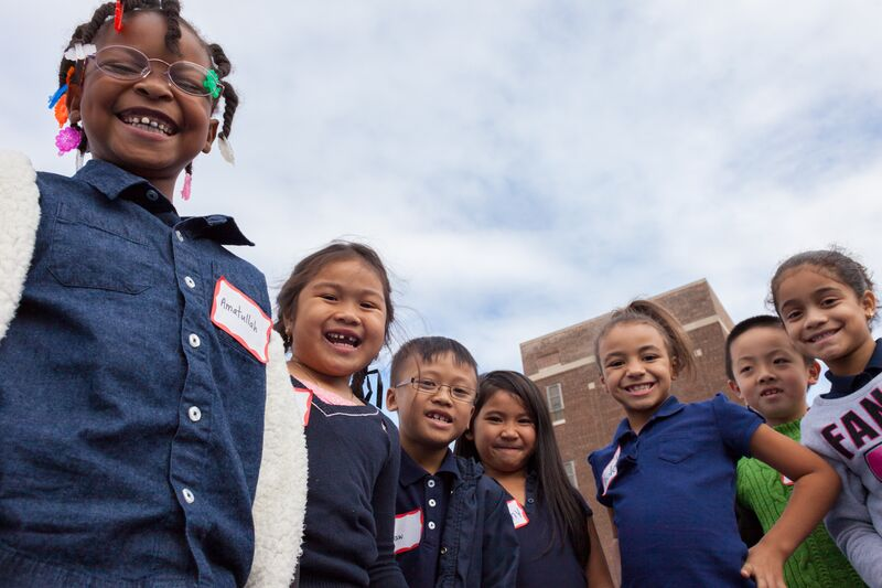 Smiling kids at the Taggart School Yard opening in the Whitman neighborhood of South Philadelphia.